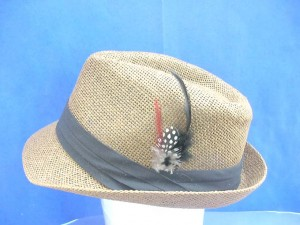 women top hat with feather decoration, brown