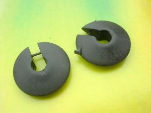 Huggies Flat Disk Handmade Tribal Wooden Boho Earrings
