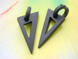 wooden punk style pick earring hoop and triangle dangle