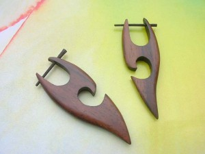 wooden Bali tribal earring with sticks