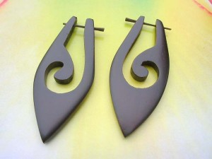 Tribal Handcrafted Sono Wood Organic Earrings Stick