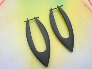 wood stick earring long olive design