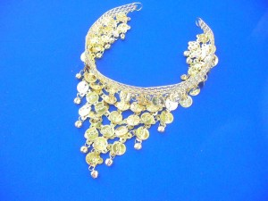 Belly dance hairpin head buckle headband in gold color  longest coin tassel dangles is 5 inches