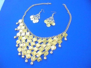 belly dance necklace earring set in gold color