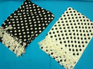black and white poker dots scarves