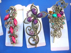 cz retro vintage barrette hair clips around 5 inches long, 1.95 inches wide