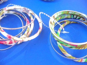 mixed designs of fabric wrapped brangle bracelets set each set contains 3 to 6 bangles