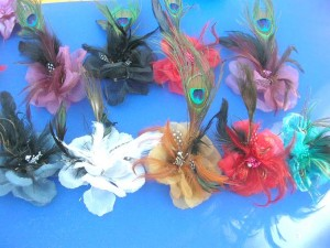 peacock feather flower carnival hair clip, corsage, brooch pin, fashion accessories for wedding, belly dancing, carnivals
