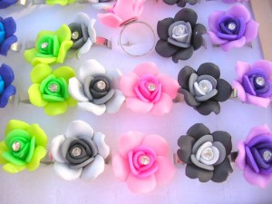 handcrafted plymer clay fimo floral rings, adjustable ring size  flower size 1 inches