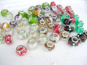 hand blown murano glass pandora style beads with metal core mixed colors and designs, around 8 designs  around 12mm in diameter