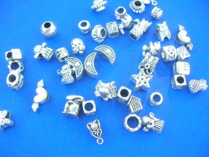 pandora style metal beads mix, angel, star, cats, heart, sun moon, animals and more