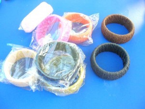 paper rope wrapped wide bangles