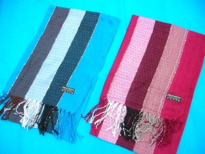 strip design pashmina shawl with sequins mixed colors randomly picked by our warehouse staffs 100% pashmina 68 inches long (not include tassels), 22 inches wide