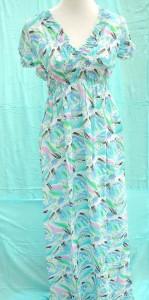 V-neck long dress, polyester cotton blended material