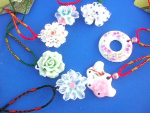 handcrafted hand painted porcelain pendant nacklace with adjustable cord