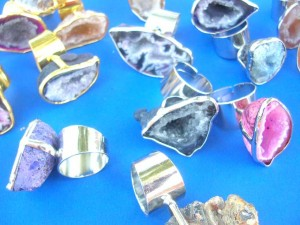 rough cut semi-precious rock rings, adjustable sizes stone size around 1 inches by 1.5 inches