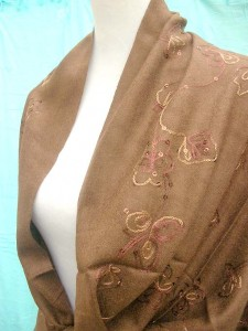 solid brown pashmina shawl with embroidery and sequins 100% pashmina 64 inches long (not include tassels), 26 inches wide