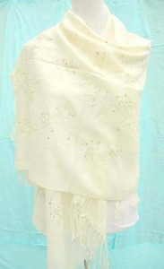 solid beige pashmina shawl with embroidery and sequins 100% pashmina 64 inches long (not include tassels), 26 inches wide