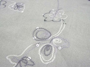 solid grey pashmina shawl with embroidery and sequins 100% pashmina 64 inches long (not include tassels), 26 inches wide