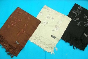 solid mixed colors (brown, black, white, beige)pashmina shawl with embroidery and sequins 100% pashmina 64 inches long (not include tassels), 26 inches wide