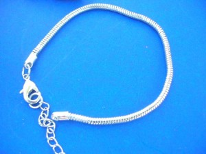 lobster clasp silver plated charm snake chain bracelet for pandora style beads, length 7.5 inch plus 1.50 inches extention
