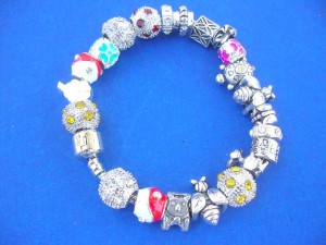 clam clasp silver plated charm snake chain bracelet for pandora style beads, length 8 inch