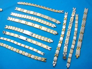 stainless steel bracelets in gold and steel tone mixed
