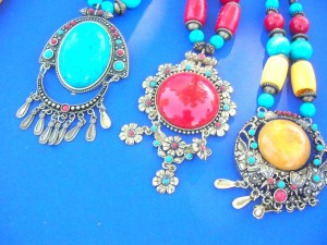 Ethnic Tibetan Necklaces In Assorted Designs Necklace is approximately 20 inches long, pendant is 2.5 to 3.75 inches long