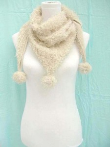 triangle acrylic fuzzy fashion scarf with pom-poms | wholesale