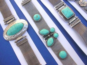 genuine gemstone turquoise soft mental bracelet