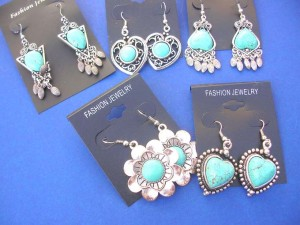 fish hook turquoise gemstone earring costume jewelry Approximately 2 to 2.5 inches in length (include the french hook)