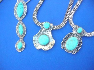 genuine gemstone turquoise pendant necklace and earring set, mixed designs