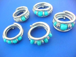 silver tone turquoise beads snake wrap coil braclet in mixed designs