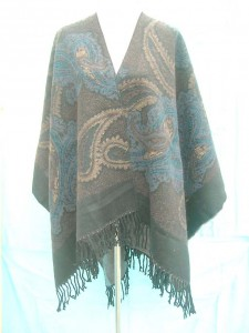 paisly design wrapped around poncho 100% acrylic, but feels like pashmina wool 60 inches long (not include tassels), 50 inches wide mixed 2 colors randomly picked by our warehouse staffs