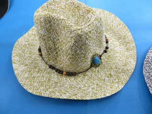 unisex straw fedora hats with turquoise beaded decoration