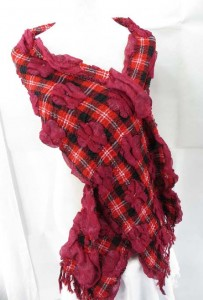plaid print flower design bubble scarf, thick, warm and cozy 75 inches long (include tassels), 12 inches wide (without stretched), can be stretched up to 22 inches wide