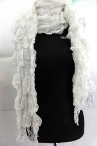 solid plain color knitting wool bubble scarf, thick, warm and cozy 80 inches long (include tassels), 14 inches wide (without stretched), can be stretched up to 22 inches wide