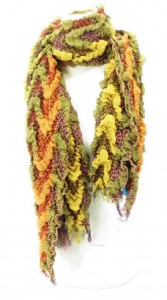 wave design warm neckerchief bubble scarf shawl, thick, warm and cozy 76 inches long (include tassels), 14 inches wide (without stretched), can be stretched up to 22 inches wide