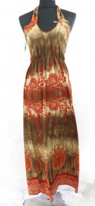 Hippie bohemian halter long dress with vintage floral designs. Made of comfortable fabric 95% polyester, 5% spandex. High quality, trendy design, made in China. Adjustable smock on the back and elastic waist on the front allowing stretch to fit in most size ranges. Approximate 49 to 51 inches in length. Mixed free size S M L (for US Size 6, 8, 10, 12, 14).