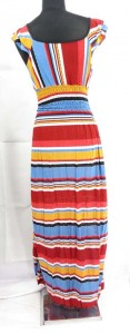 Stripes design long maxi dress. Made of comfortable fabric 95% polyester, 5% spandex. High quality, trendy design, made in China. Adjustable smock waist on the front and back allowing stretch to fit in most size ranges. Approximate 56 to 57 inches in length. Mixed free size S M (for US Size 6, 8, 10).