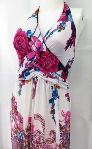 Padded bra top boho fashion Hawaiian paisley floral maxi dresses. Made of comfortable fabric 95% polyester, 5% spandex. High quality, trendy design, made in China. Adjustable smock on the back allowing stretch to fit in most size ranges. Approximate 60 to 62 inches in length. Mixed free size S M L (for US Size 6, 8, 10, 12).