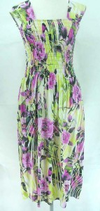 Tropical beach sundress in floral designs. Made of comfortable fabric 95% polyester, 5% spandex. High quality, trendy design, made in China. Adjustable smock top on the front and back allowing stretch to fit in most size ranges. Approximate 45 inches in length. Mixed free size S M L (for US Size 6, 8, 10, 12).