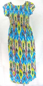 Hippie sundress. Made of comfortable fabric 95% polyester, 5% spandex. High quality, trendy design, made in China. Adjustable smock top on the front and back allowing stretch to fit in most size ranges. Approximate 44 inches in length. Mixed free size S M L (for US Size 6, 8, 10, 12).
