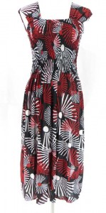 Geometric design summer dresses with wide shoulder straps. Made of comfortable fabric 95% polyester, 5% spandex. High quality, trendy design, made in China. Adjustable smock top on the front and back allowing stretch to fit in most size ranges. Approximate 42 inches in length. Mixed free size S M (for US Size 6, 8, 10).