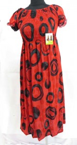 Mixed designs summer sun dresses with short sleeve. Made of comfortable fabric 95% polyester, 5% spandex. High quality, trendy design, made in China. Adjustable smock top on the front and back allowing stretch to fit in most size ranges. Approximate 41 inches in length. Mixed free size S M L (for US Size 6, 8, 10, 12).