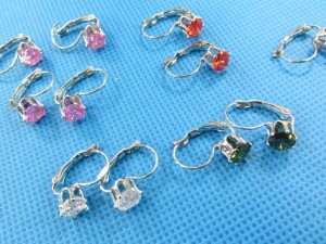 CZ fashion earrings in assorted colors