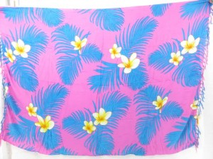 pink plumeria flower and blue leaf hawaii vacation wrap