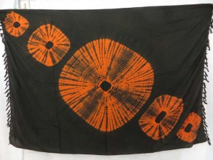 black brown tie-dye circles sarong