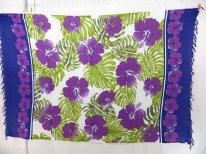 hibiscus coverup sarong pareo purple edge