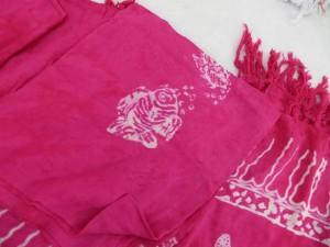 monocolor pink sarong screen printings with leaves, sun, dolphin, seashell, palm leaves etc tropical designs